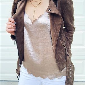 Gold/bronze scalloped tank top